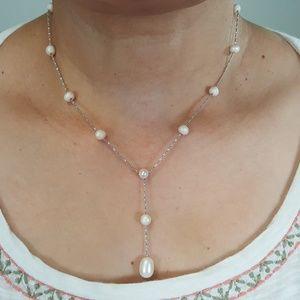 925 Sterling Pearl Necklace Earrings Set